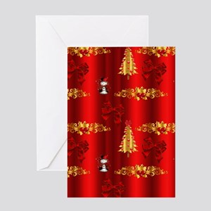 Red and Gold Christmas Decorations Greeting Cards