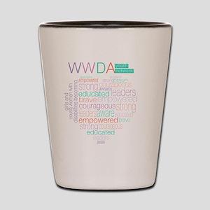 WWDA Youth Logo + Love Heart Shot Glass