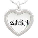Gabriel Script + Feather Silver Heart Necklace