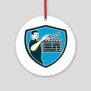 Film Crew Clapperboard Shield Retro Ornament (Roun