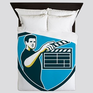 Film Crew Clapperboard Shield Retro Queen Duvet