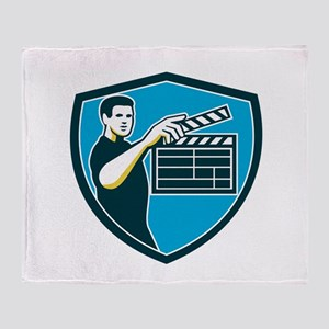 Film Crew Clapperboard Shield Retro Throw Blanket