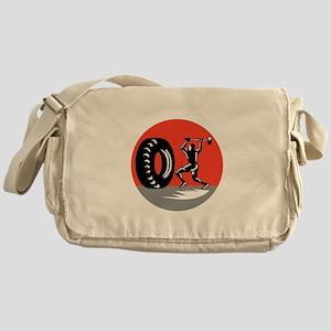Tire Sledgehammer Workout Woodcut Messenger Bag