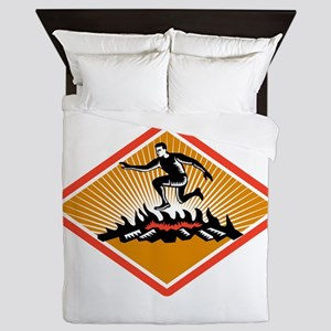 Obstacle Racing Jumping Fire Woodcut Queen Duvet