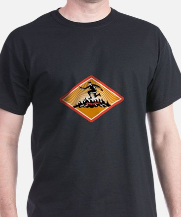 Obstacle Racing Jumping Fire Woodcut T-Shirt