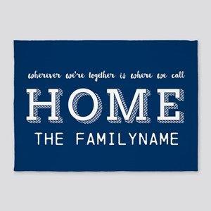Navy and White Home Is... Personali 5'x7'Area Rug