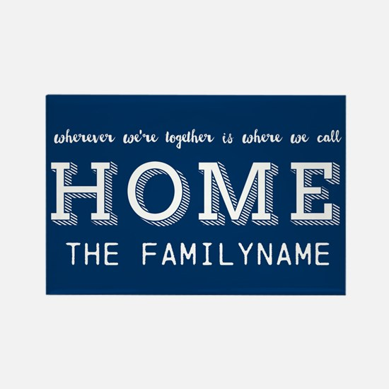 Navy and White Home Is... Persona Rectangle Magnet