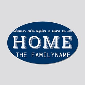 Navy and White Home Is... Pe 20x12 Oval Wall Decal