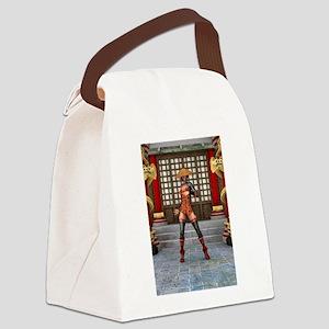 Asian Battle Woman Canvas Lunch Bag