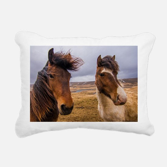 Horses of Iceland Rectangular Canvas Pillow