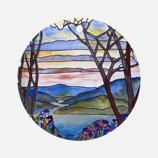 Tiffany Frank Memorial Window Ornament (round)