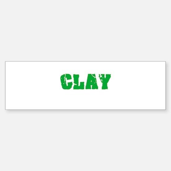 Clay Name Weathered Green Design Bumper Bumper Bumper Sticker