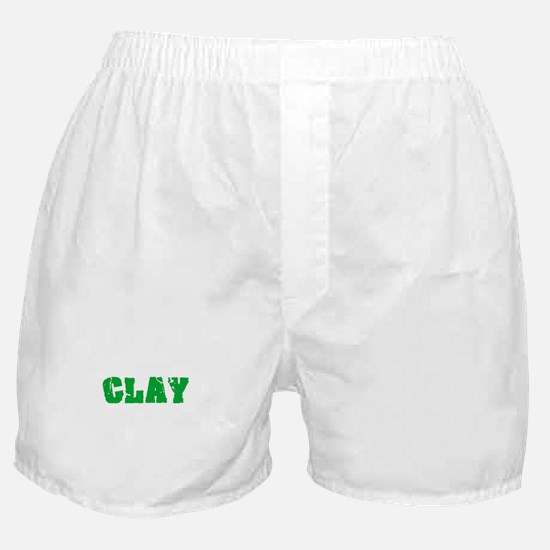 Clay Name Weathered Green Design Boxer Shorts