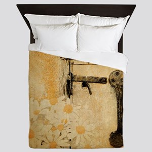 white daisy barn door Queen Duvet