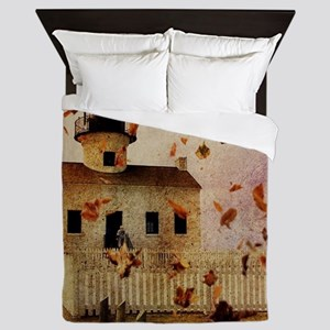 fall leaves country house Queen Duvet