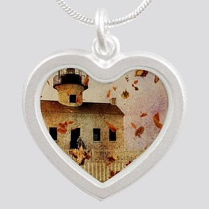 fall leaves country house Silver Heart Necklace