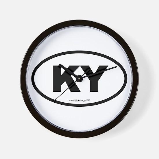 Kentucky KY Euro Oval BLACK Wall Clock
