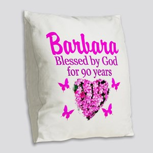 BLESSED 90TH Burlap Throw Pillow