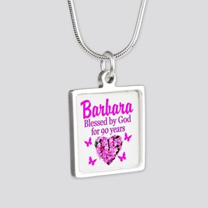 BLESSED 90TH Silver Square Necklace