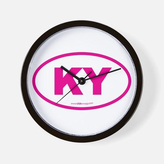 Kentucky KY Euro Oval PINK Wall Clock