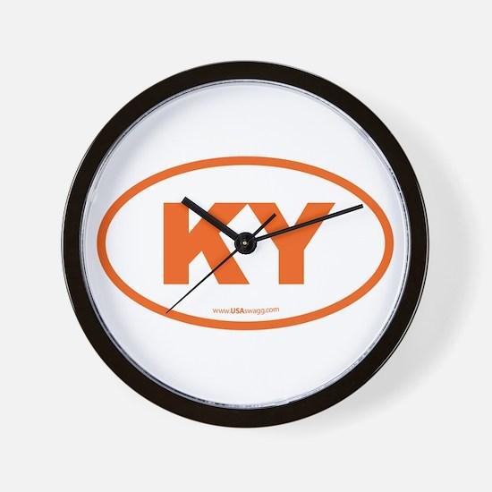 Kentucky KY Euro Oval ORANGE Wall Clock