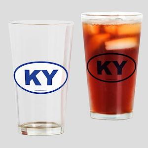 Kentucky KY Euro Oval BLUE Drinking Glass