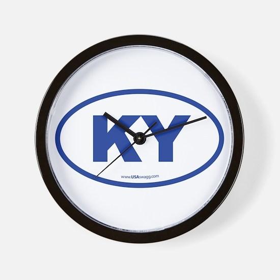 Kentucky KY Euro Oval BLUE Wall Clock