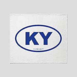 Kentucky KY Euro Oval BLUE Throw Blanket