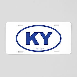 Kentucky KY Euro Oval BLUE Aluminum License Plate