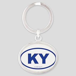 Kentucky KY Euro Oval BLUE Oval Keychain