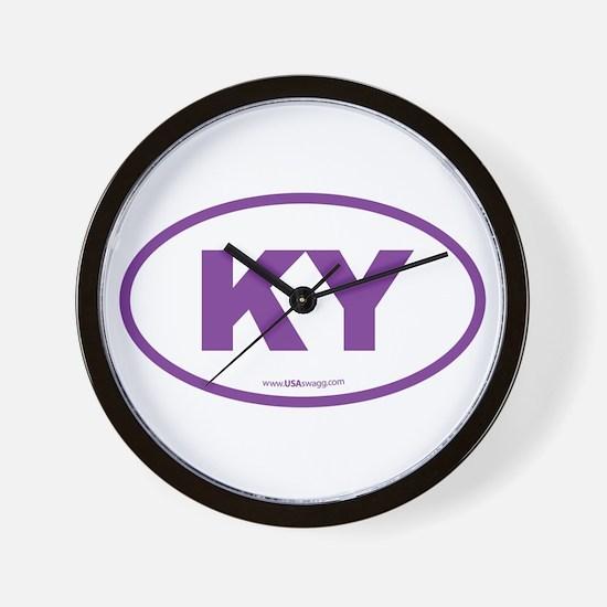 Kentucky KY Euro Oval PURPLE Wall Clock