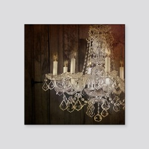 "barn wood crystal chandelie Square Sticker 3"" x 3"""