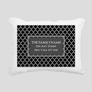 Black and White Quatrefo Rectangular Canvas Pillow