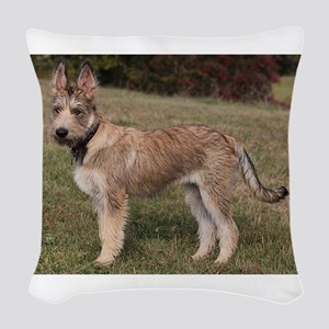 berger picard puppy Woven Throw Pillow