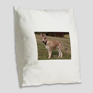 berger picard puppy Burlap Throw Pillow