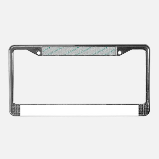 Merry Christmas, aqua License Plate Frame