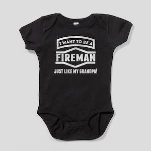 Fireman Just Like My Grandpa Baby Bodysuit