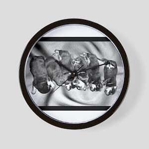 sleepyhead rottweiler pups Wall Clock