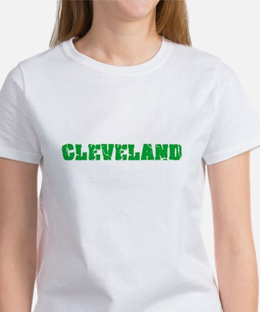 Cleveland Name Weathered Green Design T-Shirt