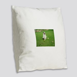 birman sitting Burlap Throw Pillow