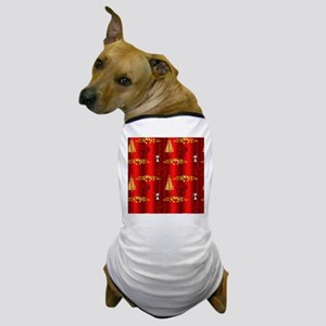 Red and Gold Christmas Decorations Dog T-Shirt