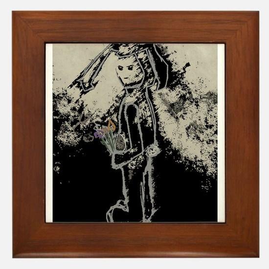 sad bunny rabbit by asyrum design Framed Tile