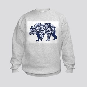 Bear Knotwork Blue Kids Sweatshirt