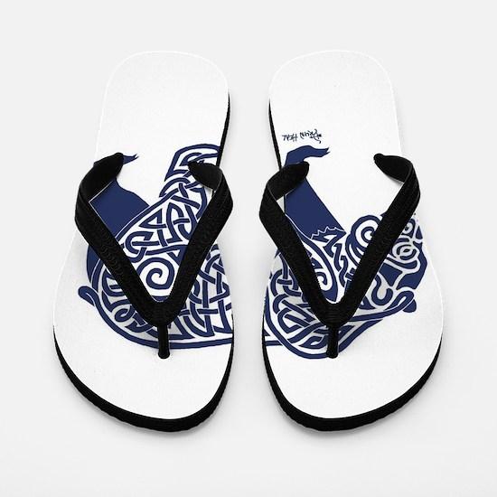 Bear Knotwork Blue Flip Flops