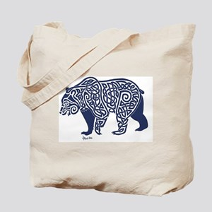 Bear Knotwork Blue Tote Bag