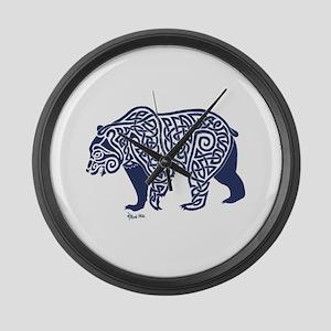 Bear Knotwork Blue Large Wall Clock