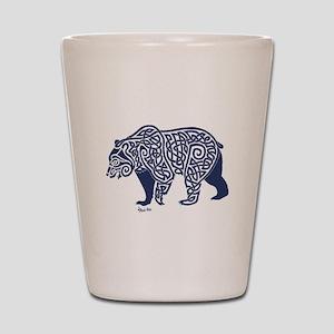 Bear Knotwork Blue Shot Glass