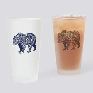 Bear Knotwork Blue Drinking Glass