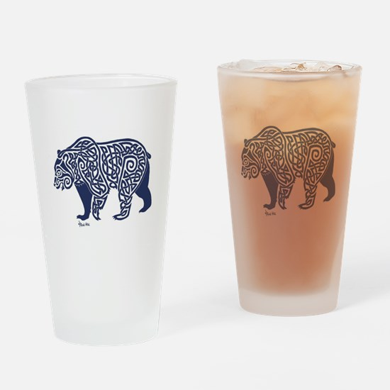 Bear Knotwork Blue Drinking Glass