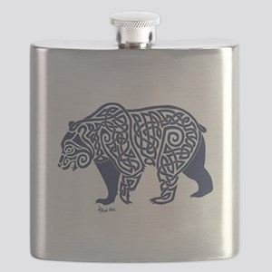 Bear Knotwork Blue Flask